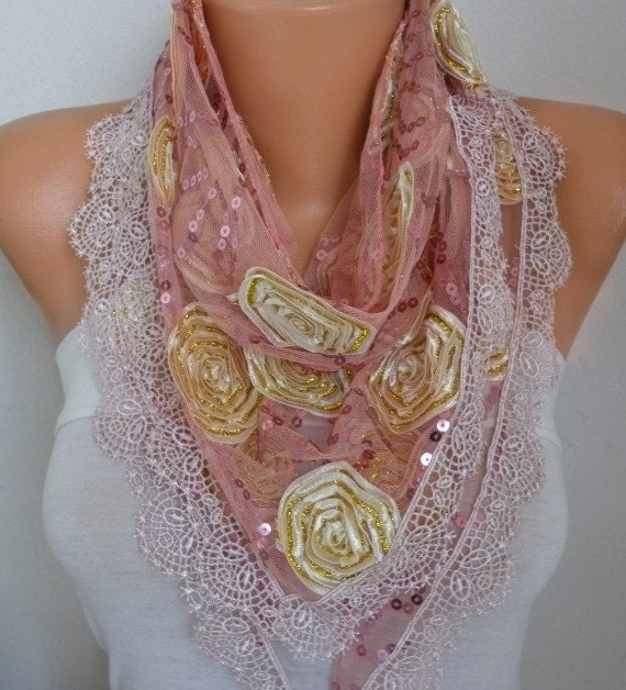 Cinnamon Sequin Tulle Scarf, Wedding Scarf,Cowl Scarf,Bridesmaid Gift,Lace Scarf,Gift Ideas For Her,Women Fashion Accessories - fatwoman