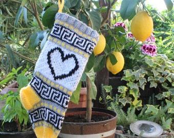 Small Holiday Stocking with Hearts Fair Isle Knit Christmas Santa Sock Decorative Xmas Home Decor Ornament Hanknit - ready to ship SGYR