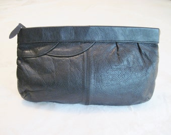 Vintage Black Soft Leather Contessa Clutch Purse with Zipper Hong Kong