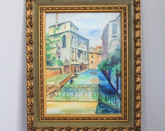 Watercolor Painting Large Original Framed  - Venice Italy Canal Cityscape