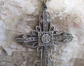 Vintage sterling silver large cross crochet necklace lightweight eco chic holiday boho by slashKnots