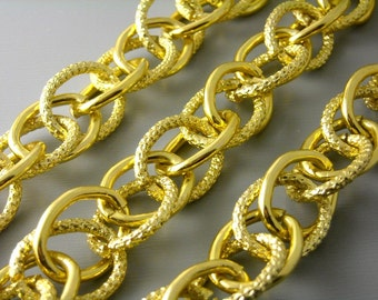 CHAIN-G-19MM - Crossed Link Gold Plated Aluminum Chain, 19mm x 15mm, 1.5 feet (18 inches)