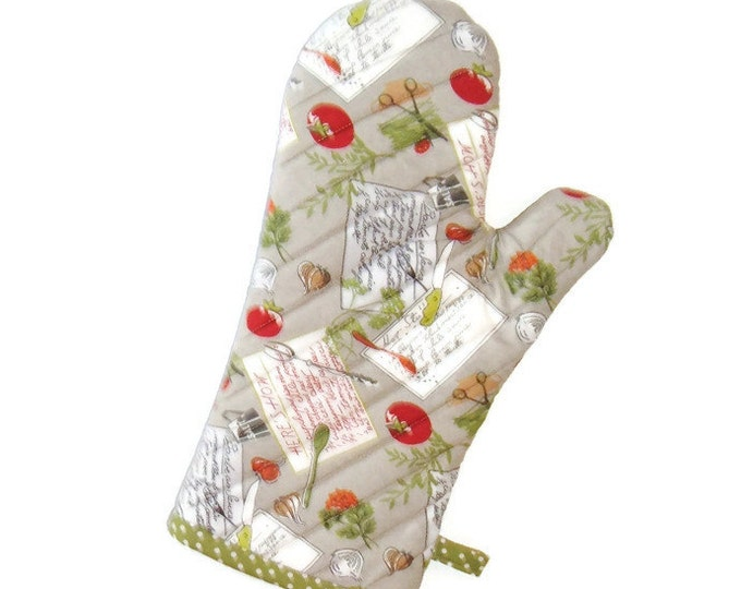 Oven Mitt - Tomatoes and Herbs on Gray - Gift for Foodie - Gift Under 20
