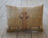 Proverbs 31 Burlap Pillow, Primitive Americana, INSERT INCLUDED