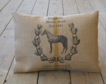 Feedsack Horse Burlap Pillow, Shabby Chic Decor, Farmhouse Pillows, INSERT INCLUDED