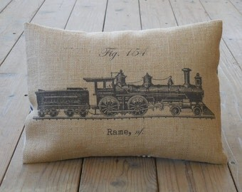 French train Burlap Pillow, Shabby Chic, Farmhouse Pillows, INSERT INCLUDED