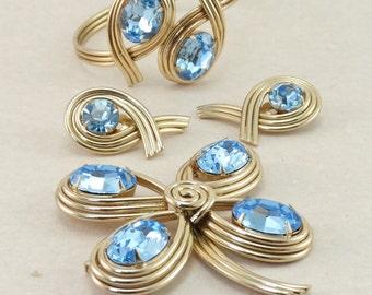 HUGE Vintage BERGERE Blue Topaz Color Rhinestone Parure - Clamp Bracelet, Brooch, Earrings
