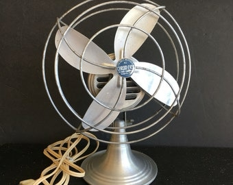 "Vintage Industrial Chrom-Ever Fan, 8"" Silver Aluminum Blades (c.1950s) - Collectible Open Cage Fan, Industrial Office Decor"