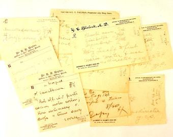 Vintage / Antique Handwritten Medical Prescriptions, Set of 9 (c.1901) N2 - Paper Ephemera, Collectibles, Medical Oddities