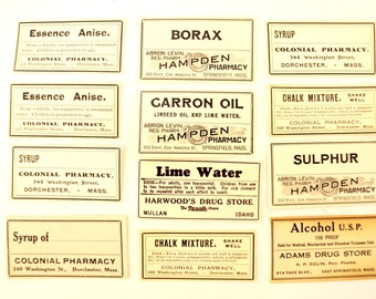 Antique Medicine Apothecary Pharmacy Labels in Black and White, Set of 12 (c.1890s) N3 - Paper Crafts, Altered Art, and more
