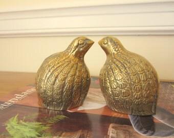 Pair of vintage brass quails.  Partridge.  Circa 1970s.