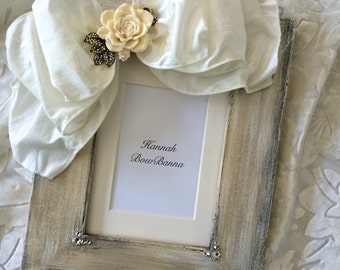 Picture Frame Bow Wedding Portrait Jewel White Rose Personalize Baby Flower Girl Maid of Honor Country Rustic Shabby Unique Handmade Etsy