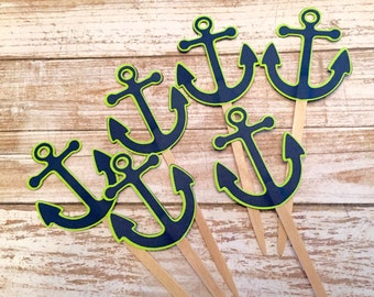 12 Navy and Lime Anchor Cupcake Topper / Nautical birthday parties / Baby showers / Nautical cupcake