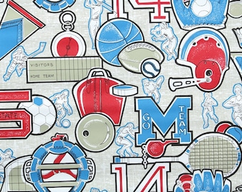 Retro Wallpaper by the Yard 70s Vintage Wallpaper – 1970s Red White and Blue Sports, Hockey Bowling Football Baseball Soccer