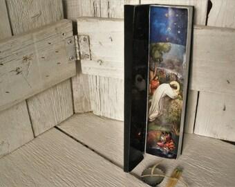 Slim prayer box Christian shrine meditation upcycled embellished pocket size