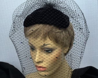 Woman's Hat, Womans Fascinator, Black Hat, Black Fascinator, Black Velvet Hat, Velvet Fascinator, Beaded Hat, Beaded Fascinator, Bugle Beads