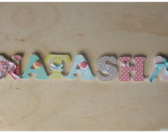 7 Wooden Letters - 75mm by 6mm