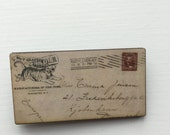 Tiger Stamped Old Letter Brooch Pin Writing Handwritten Post Mail Stamp Art Gift Wooden Birthday Stationery Nerd Present Unique for Her Him