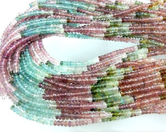 Tourmaline-Beads Tourmaline Rondelle Faceted Beads Mutli Color  AAA+++ Quality 5MM 14''  100% Natural Gemstone Tourmaline Beads