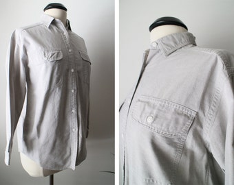 Vintage 90s Light Grey Cotton Slouchy Oversized Boyfriend Pocket Shirt Size XS Fits S M