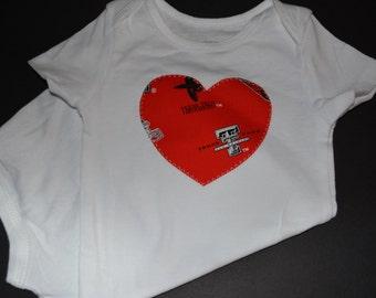 Texas Tech University Children's Heart Bodysuit or T-Shirt