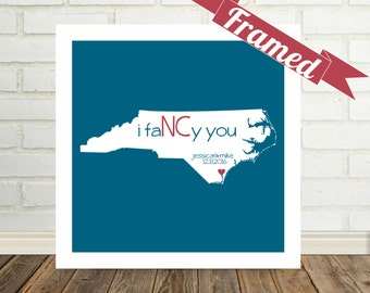 NORTH CAROLINA Map Print Personalized Gift for Couple Framed Art Print Wedding Gift for Couple Special Valentines Day Gift for Wife