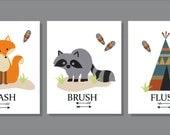 Fox, Raccoon, Woodland Creatures, Wash, Bathroom Wall Art, Typography, Bathroom decor- Set of three prints