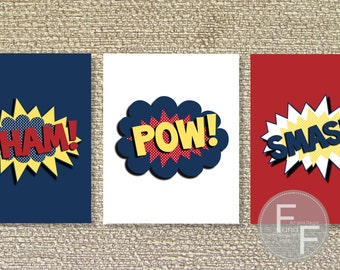 Superhero Wall Decor, Superhero Printable Wall Art, Superhero decor- File Download