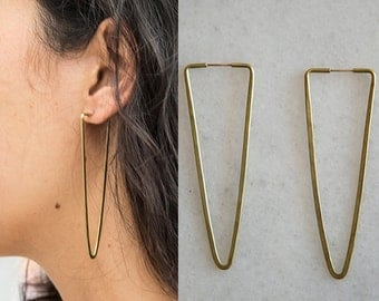 Handmade hammered brass triangle drop earrings