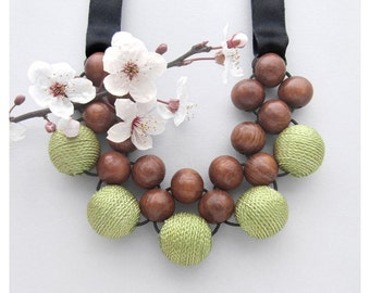 Bib Necklace / Wooden Necklace / Bayong Wood Khaki Fabric Bead with Ribbon Ties / Wooden Bead Necklace / Statement Necklace / Adjustable