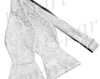 New Micro Fiber Men's Paisley White Self-Tie Bow tie only, Formal Occasions (A)