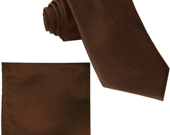 Men's Solid Brown Big & Tall Extra Long Necktie and Handkerchief, for Formal Occasions