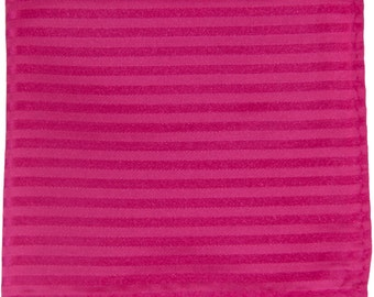 Men's Polyester Striped Hot Pink Handkerchief, for Formal Occasions (625)