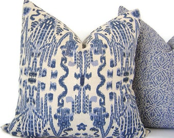 Blue Ikat Pillow - Decorative Pillow - Mumbai Ikat Pillow - Lacefield Mumbai Pillow - Ikat Toss Pillows - Accent Pillow - PILLOW COVER ONLY