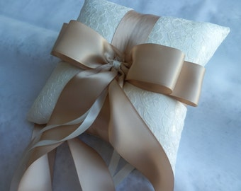 Ivory Shantung Silk and Ivory Lace with Champagne Satin Ribbon Ring Pillow Bearer