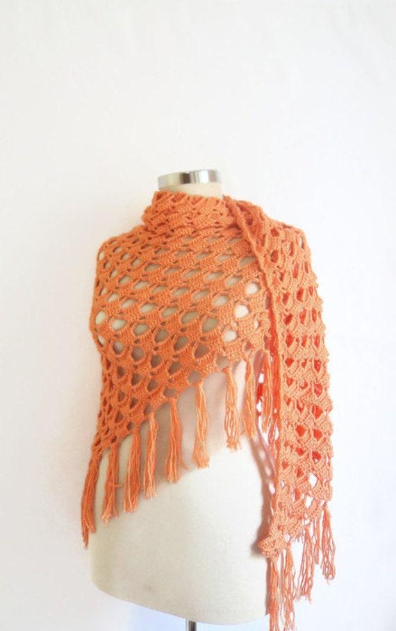 Handmade Crochet Salmon Shawl-Free Shipping