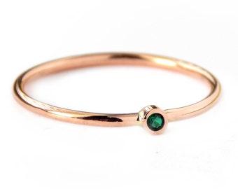 Tiny Rose Gold-filled Birthstone Ring:  14K Rose Gold-filled ring, birthstone ring, dainty ring, simple ring, rose gold ring, promise ring