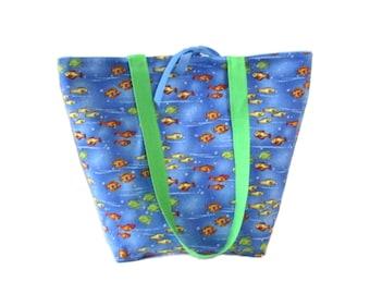 Fish Tote Bag, Blue Handmade Handbag, Fabric Bag, Tropical Fish, Goldfish Bag, Shoulder Bag, Cloth Purse, Water, Ocean