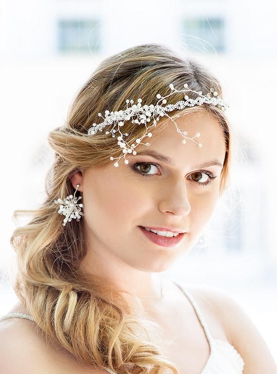 Wedding Headband Ribbon Bridal Hair Accessory Wedding Pearl