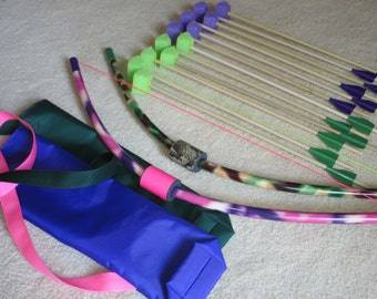 Small archery sets, two-pack bow and arrows, girl and boy toy, handmade pvc lawn game, fun sports activity, camp pow wow activity sets