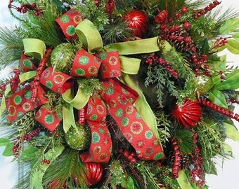 SAVE 60% on Christmas Wired Red Burlap Ribbon, Glittering Circles, Green Burlap, Christmas Door Wreath