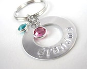 Personalized Keychain charm, washer stamped, birthstone key chain charm, gift for mom grandma sister, mother's day gift