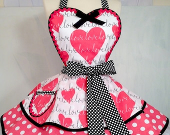 Love is in The Air PInUp Apron, Hearts/Retro Apron/Polka Dot Apron/Women's Apron-Ready To Ship