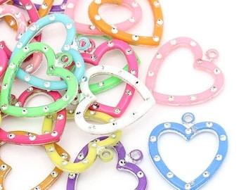30 Mixed Acrylic Heart Charms cha0038