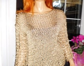 sweater/jumper/top chunky gold shiny metallic sweater sparkly jumper loose fit handmade knitted gift idea for her by goldenyarn