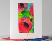 Coquelicots rouges aquarelle Art Notecard / / Original Art
