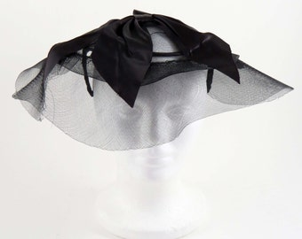 Vintage  Black SATIN BOW FASCINATOR / Veiled Hat / 1950's design / with Black Satin Bow &  Black Netting  / One Size Fits All /