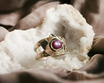 Fairy Moon Spells Star Ruby Siver Ring