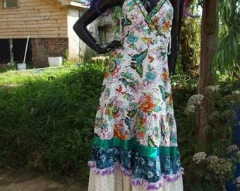 upcycled butterfly mermaid fairy maxi halterneck sparkle dress uk size 14