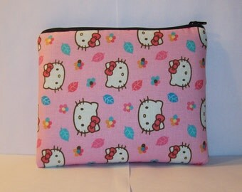 """Padded Pipe Pouch, Glass Pipe Case, XL Pipe Bag, Hello Kitty Bag, Pink Leaves Bag, Cute Pouch, Gadget Bag, Smoke Pouch, 7.5"""" x 6"""" - X LARGE"""